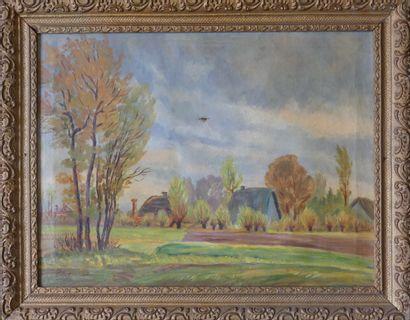 BEER?. Ecole du XIXe siècle. Paysage de village.