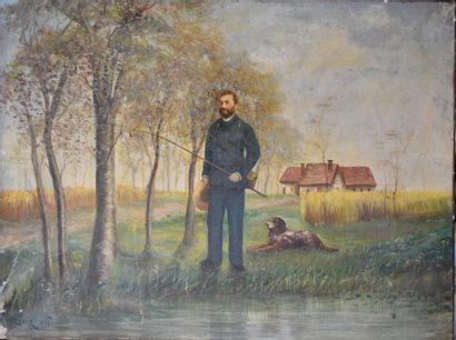 Ecole du XIXe siècle, Pecheur avec chien