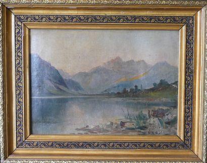 Ecole du XIXe siècle. Paysage de lac et montagnes