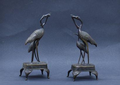 Paire de sculptures en bronze à figurant...