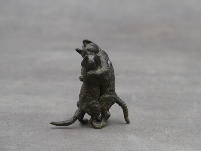 VIENNE. Chatons s'embrassant, bronze à patine...