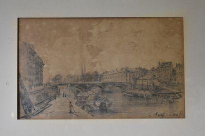 Ecole du XIXème siècle, Pont en ville , crayon...