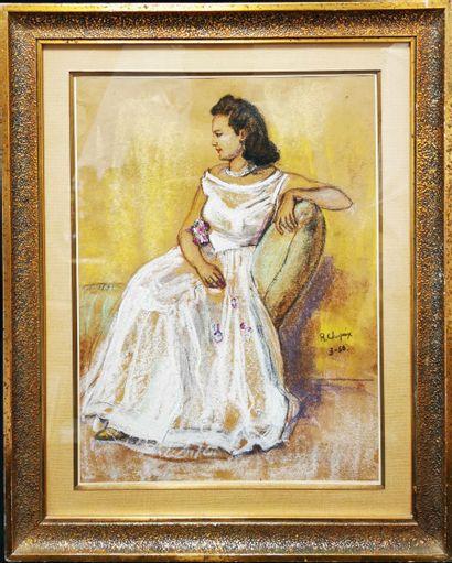 René Louis Marie CHOPRIX, (attribué à), Femme assise en robe blanche