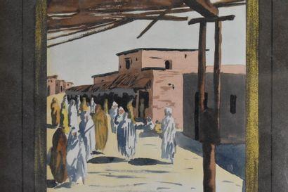 GAUDERON. A, Rue animée, aquarelle sur papier....