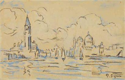 Paul SIGNAC (Paris 1863 - 1935) Venise Aquarelle et traits de fusain Signé en bas...