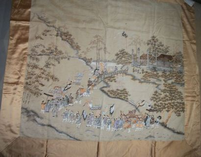 Tenture, Chine du Sud, vers 1900, toile crème...