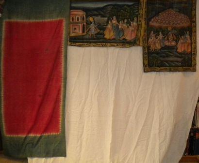 Deux panneaux en batik, Inde, Krishna et...
