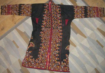 Manteau de mariage Turkmène, toile noire...