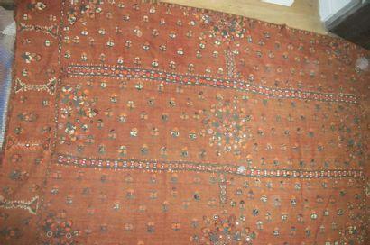 Pulkari, Pakistan, toile rouge brique brodée...