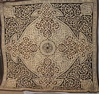 Tenture, Égypte, fond de coton brun, gris...