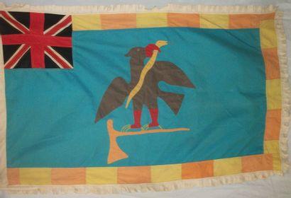 Drapeau de confrérie, Ghana, toile bleu turquoise...