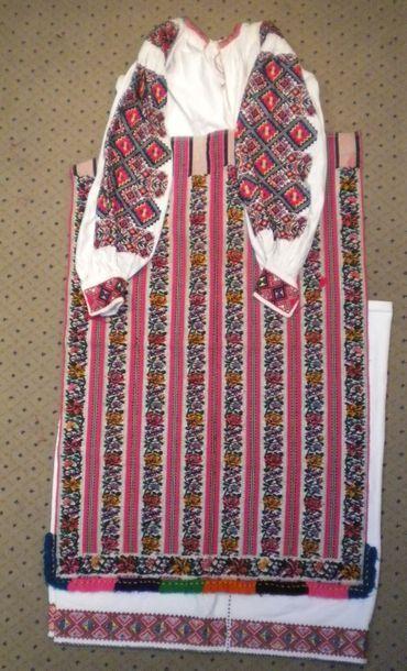 Jupe, chemise et tablier, Roumanie, coton...