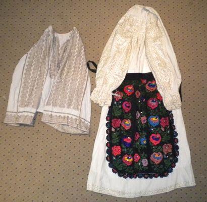 Robe, chemise et tablier, Roumanie, coton...