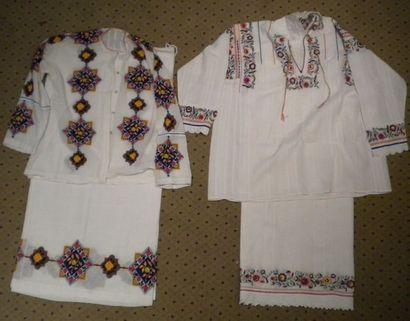 Deux jupes et deux chemises, Roumanie, coton...
