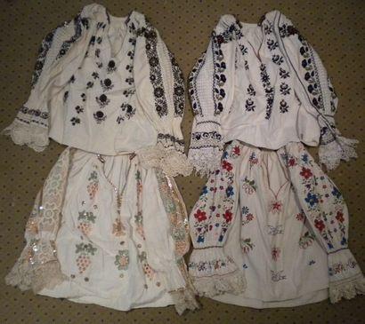 Quatre chemises Bamania, Hongrie, coton brodé...