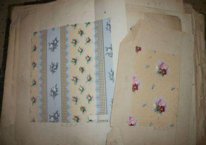 Album de gouaches, Fleurs, circa 1860, gouaches,...