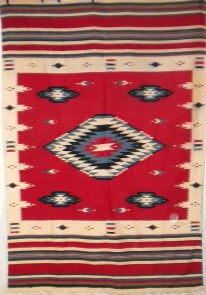 Kilim Navajo, Amérique du Nord, fond rouge,...