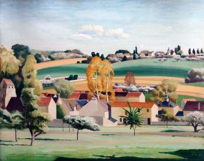 CHARLES CERNY (1892-1965) « Pâques à Gouvernes » Tempera sur papier signée en bas...