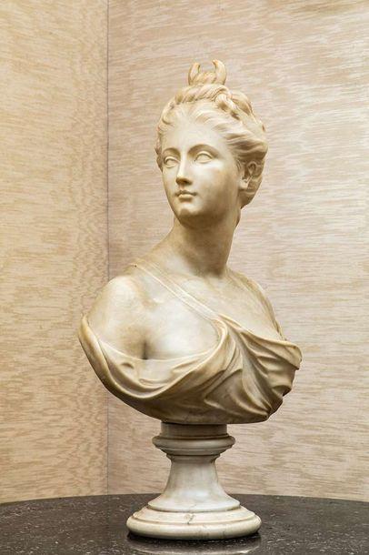 d'après HOUDON,  Buste de Diane drapée, sur...