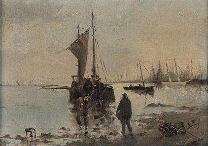 ECOLE MODERNE VERS 1900  Le retour de pêche...