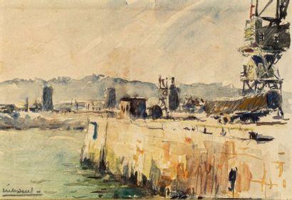 MAURICE MELISSENT (1911-1988)  Vue d'un port...