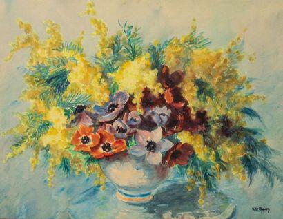 . LE BOURY (XXè)  Bouquet de fleurs  signé...