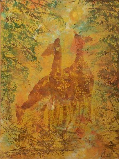 HENRI PFEIFFER (1907-1994)  Girafes  signé...