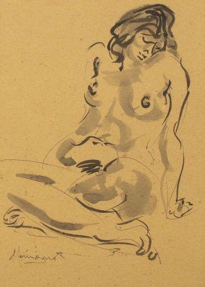EDMOND MOIRIGNOT (1913-2002)  Femme nue assise...