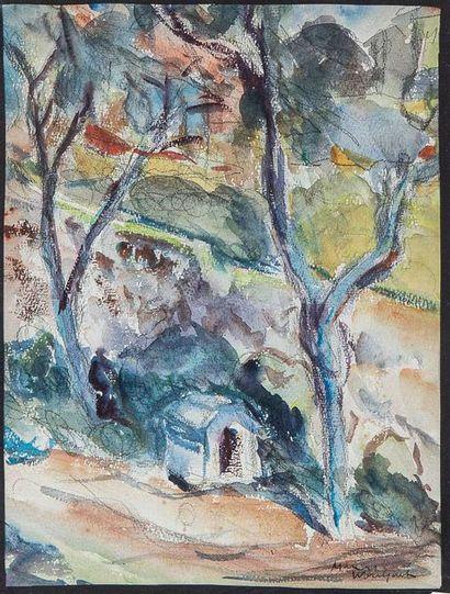 MARIUS WOULFART (1905-1991)  Paysage de Provence...