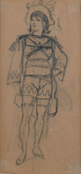 """Alfred GREVIN (1827-1892)  """"Man in period costume""""  Pencil on paper, mark of the..."""