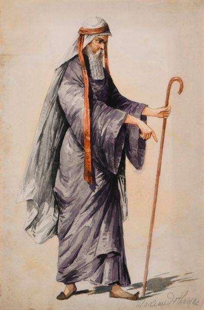 """Maxime de THOMAS (1867-1929)  """"Moïse""""  Aquarelle sur papier, signé Maxime de Thomas..."""