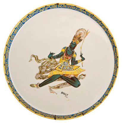 D'après Léon BAKST (1866-1924)  Reproduction sur assiette en porcelaine de Limoge,...