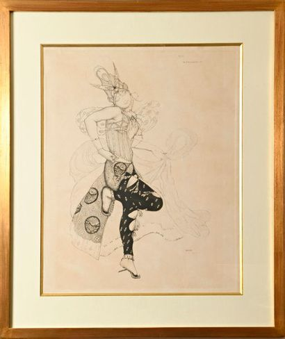 """After Léon BAKST (1866-1924)  """"Costume project for the Péri""""  Two prints, the first..."""