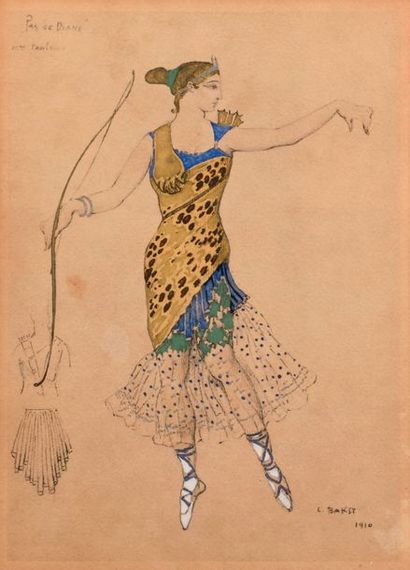 "After Léon BAKST (1866-1924)  ""Pas de Diane""  Lithography heightened with gouache,..."