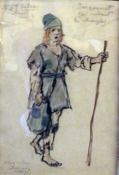 "Alexandre BENOIS (1870-1960)  ""Garçonnet qui conduit les aveugles dans l'opéra Sadko""..."