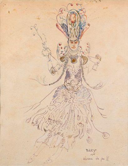 """Léon BAKST (1866-1924)  """"The Firebird""""  Watercolour, gouache, and fountain pen,..."""