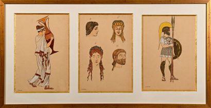 """Georges BARBIER (1882-1932)  """"Three studies of Greek women in the same framing""""..."""