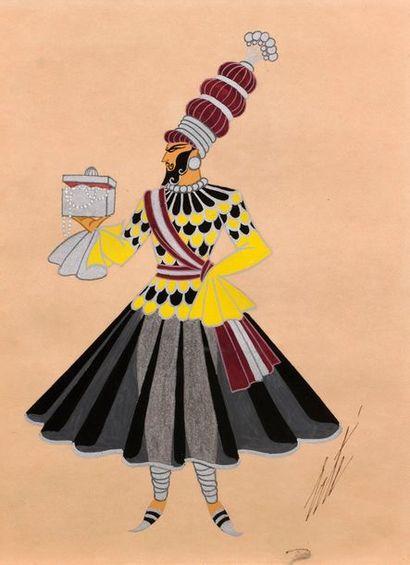 """ERTE (1892-1990)  """"Maharadjah porteur de présents""""  Gouache sur papier, rehaut d'argent,..."""