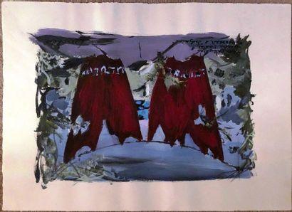"Dimitri BOUCHENE (1893-1993)  ""Endymion""  Gouache on paper, dedicated to Léandre..."