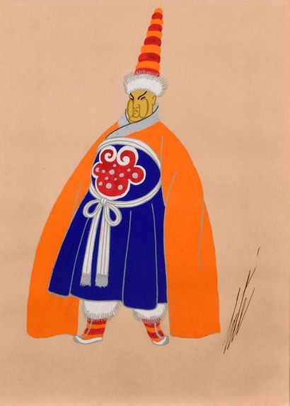 """ERTE (1892-1990)  """"Tibetan husband""""  Gouache on paper, heightened with silver, signed..."""