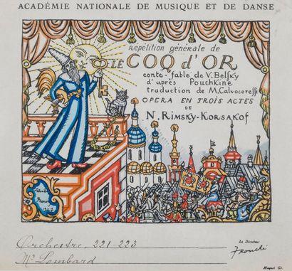 Programme de l'Opéra Le Coq d'Or de Rimsky-Korsakof  Estampe  A vue : 18 x 19 c...