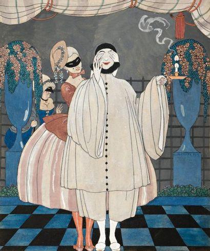 Georges BARBIER (1882-1932)  Pierrot et Colombine...