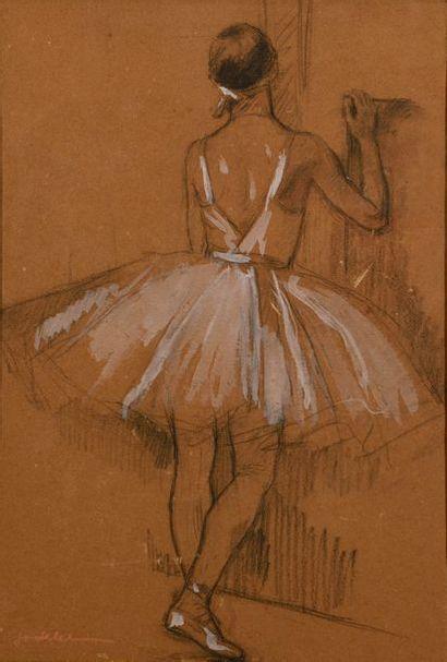 "Charles Emmanuel JODELET (1883-1969)  ""Ballerina from behind""  Charcoal, heightened..."