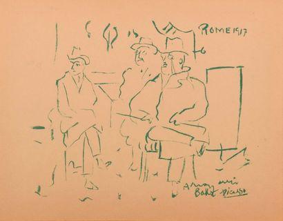 "After Pablo PICASSO (1881-1973)  ""Portraits in Rome, of Cocteau (1889-1963), Bakst..."