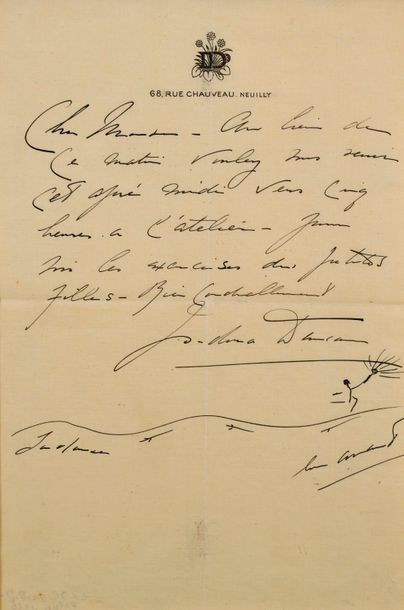 Isadora DUNCAN (1877-1927)  Signed hand-written letter on headed paper : ID 68,...