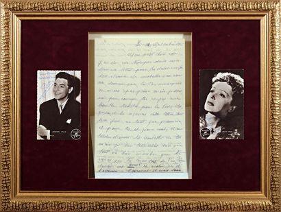 Edith PIAF (1915-1963)  L A S adressée à son mari Jacques Pills, deux cartes postales...