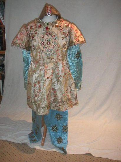Culotte et veste, style oriental, satin bleu...