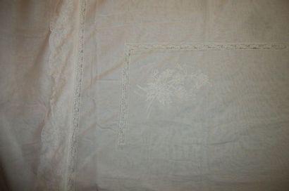 Jeté de lit en voile de coton blanc, maison...