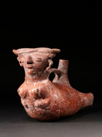 Vicus vessel representing a lying woman  Vase...