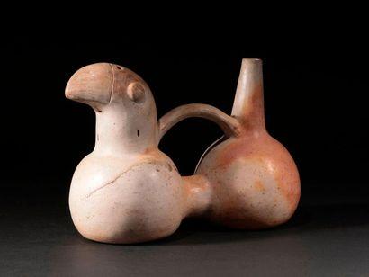 Vase étrier à double panse avec un Perroquet...